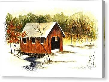 Covered Bridge In The Snow Canvas Print by Michael Vigliotti