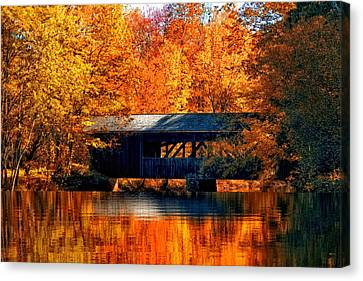 Covered Bridge Canvas Print by Joann Vitali