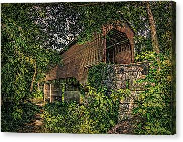 Canvas Print featuring the photograph Covered Bridge by Lewis Mann