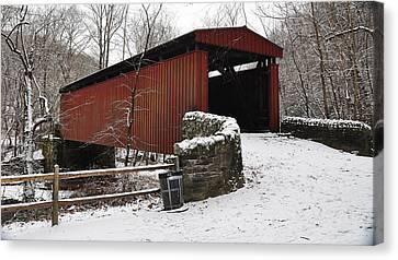Covered Bridge Over The Wissahickon Creek Canvas Print by Bill Cannon