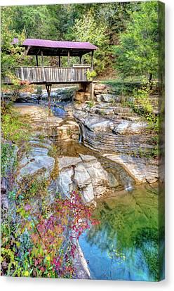Covered Bridge, Ponca Arkansas, Buffalo National River Area Canvas Print by Gregory Ballos