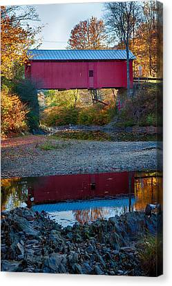 Covered Bridge Reflection In Vermont Canvas Print by Jeff Folger