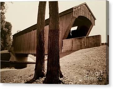 Covered Bridge Southern Indiana Canvas Print by Scott D Van Osdol