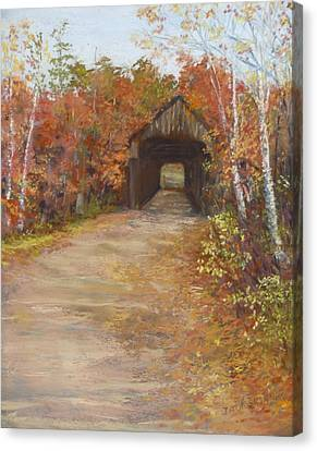 Canvas Print featuring the painting Covered Bridge  Southern Nh by Jack Skinner