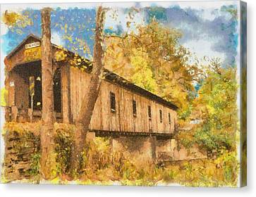 Covered Bridge Usa Canvas Print by Anthony Caruso
