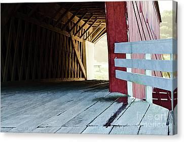 Covered Bridge, Winterset, Iowa Canvas Print by Wilma Birdwell
