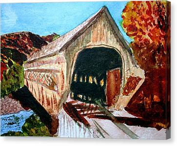 Covered Bridge Woodstock Vt Canvas Print by Donna Walsh