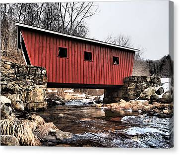 Covered Foot Bridge Canvas Print by Frank Piercy