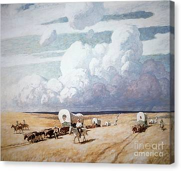 Traveller Canvas Print - Covered Wagons Heading West by Newell Convers Wyeth