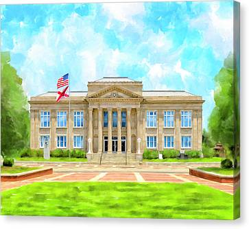 Canvas Print featuring the mixed media Covington County Courthouse - Andalusia Alabama by Mark Tisdale