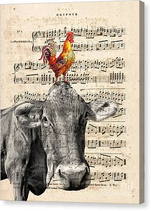 Cow And Rooster Canvas Print by Delphimages Photo Creations