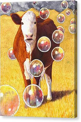 Cow Bubbles Canvas Print by Catherine G McElroy
