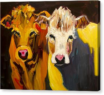 Cow Buddies At Large Canvas Print