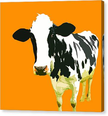 Cow In Orange World Canvas Print by Peter Oconor