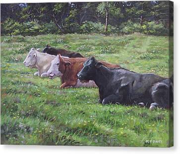 Canvas Print featuring the painting Cow Line Up In Field by Martin Davey