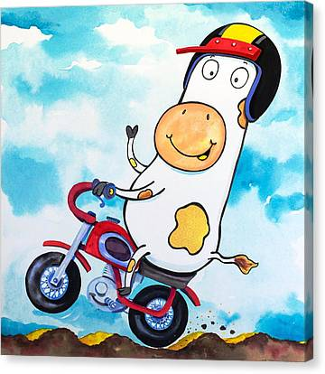 Cow Motocross Canvas Print