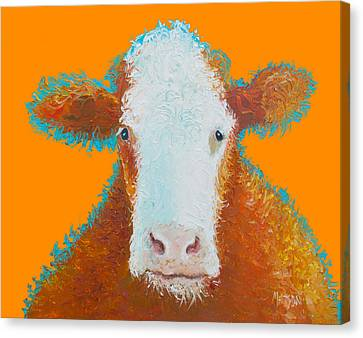 Cow Painting - Brown Hereford Canvas Print