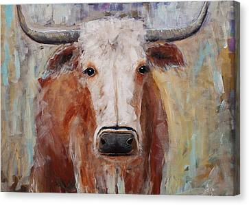Cow Painting Longhorn Steer Country Farm House Art Canvas Print by Gray Artus
