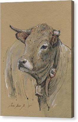 Cow Portrait Painting Canvas Print by Juan Bosco