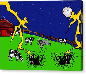Cow Tipping Canvas Print by Jera Sky