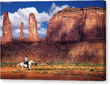 Canvas Print featuring the photograph Cowboy And Three Sisters by William Lee