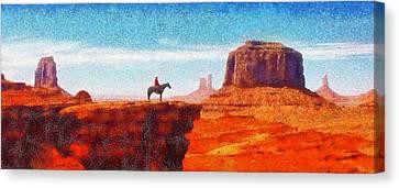 Depression Canvas Print - Cowboy At Monument Valley In Utah - Da by Leonardo Digenio