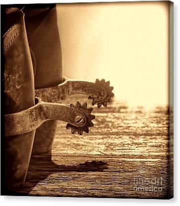 Cowboy Boots And Riding Spurs Canvas Print