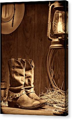 Cowboy Boots At The Ranch Canvas Print by American West Legend By Olivier Le Queinec