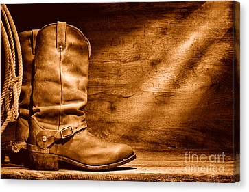 Cowboy Boots On Wood Floor - Sepia Canvas Print by Olivier Le Queinec