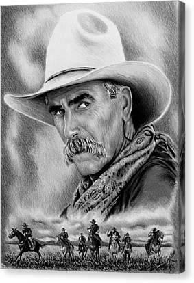 Cowboy Bw Canvas Print