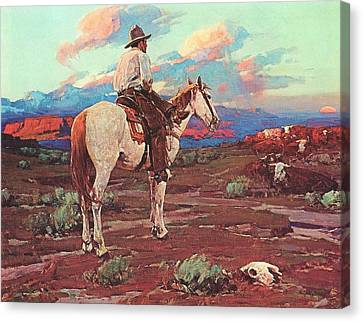 Cowboy Country Canvas Print by Pg Reproductions