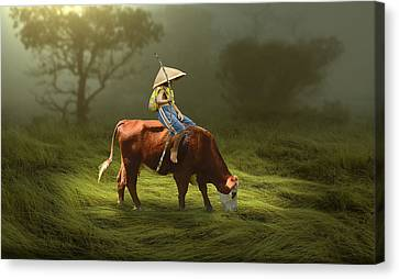 Canvas Print featuring the mixed media Cowboy Cow Boy by Marvin Blaine