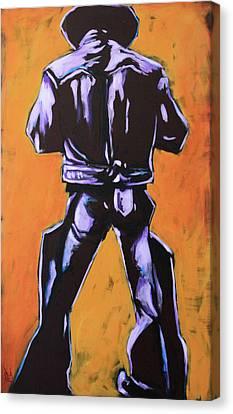 Cowboy Drumroll In Purple Canvas Print by Chris Riley