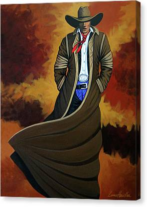 Contemporary Cowgirl Canvas Print - Cowboy Dust by Lance Headlee