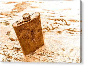 Canteen Canvas Print - Cowboy Energy Drink - Sepia by Olivier Le Queinec