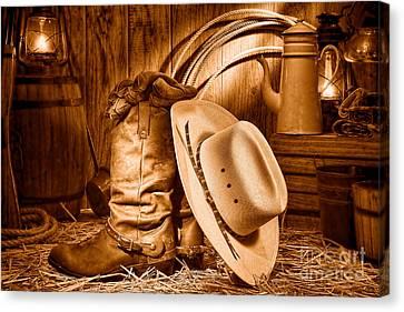Cowboy Gear In Barn - Sepia  Canvas Print