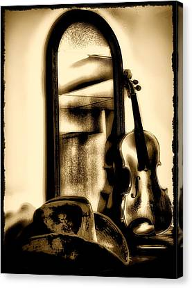 Cowboy Hat And Fiddle Canvas Print by Bill Cannon