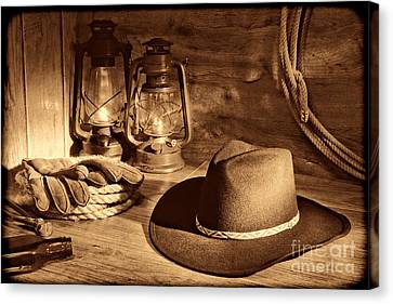 Cowboy Hat And Kerosene Lanterns Canvas Print by American West Legend By Olivier Le Queinec