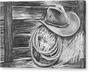 Cowboy Hat In A Barn Canvas Print by Nolan Clark