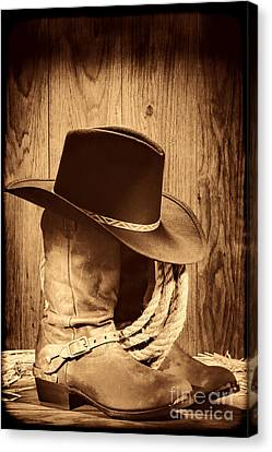 Cowboy Hat On Boots Canvas Print by American West Legend By Olivier Le Queinec