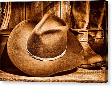 Cowboy Hat On Floor - Sepia Canvas Print by Olivier Le Queinec