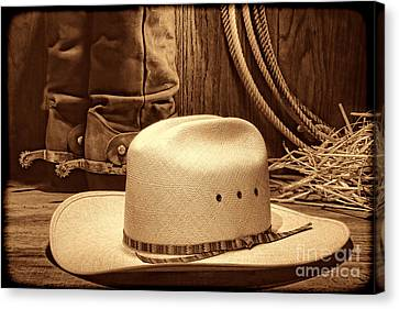 Cowboy Hat With Western Boots Canvas Print by American West Legend By Olivier Le Queinec