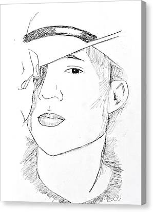 Canvas Print featuring the drawing Cowboy Heath by Rebecca Wood