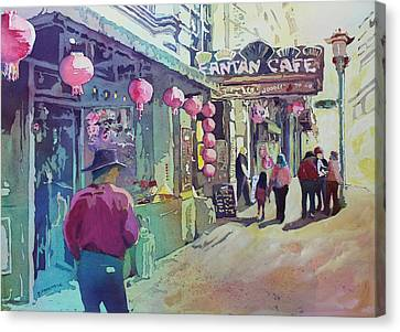 British Columbia Canvas Print - Cowboy In Chinatown by Jenny Armitage