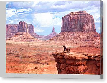 Cowboy In Monument Valley Canvas Print by Kantor