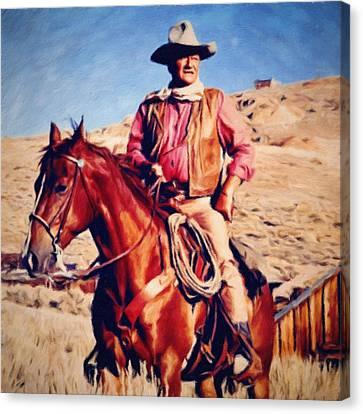 Cowboy John Wayne Canvas Print by Vincent Monozlay