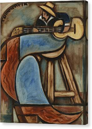 Cowboy Playing Guitar In  Albuquerque New Mexico Art Print Canvas Print by Tommervik
