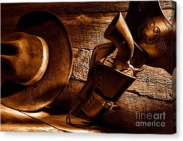 Cowboy Safety - Sepia Canvas Print