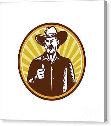 Cowboy Thumbs Up Sunburst Circle Woodcut Canvas Print by Aloysius Patrimonio
