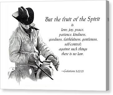 Cowboy With Fruit Of Spirit Scripture Canvas Print by Joyce Geleynse